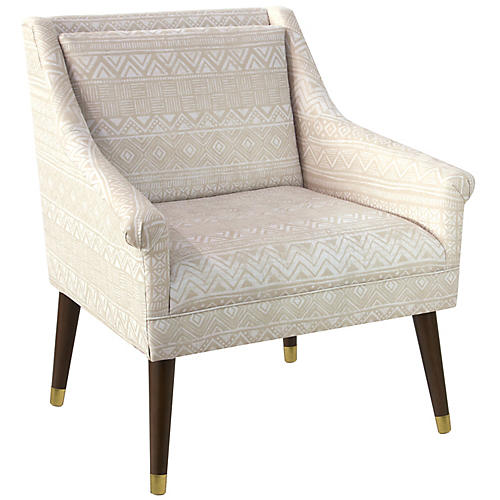Carson Accent Chair, Natural Batik