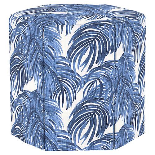 Savannah Ottoman, Blue Palm
