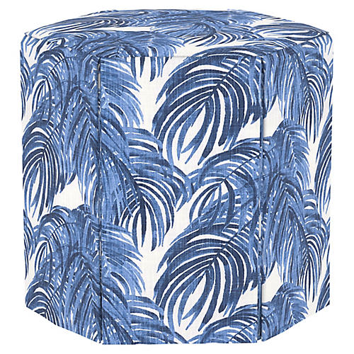 Savannah Skirted Ottoman, Blue Palm