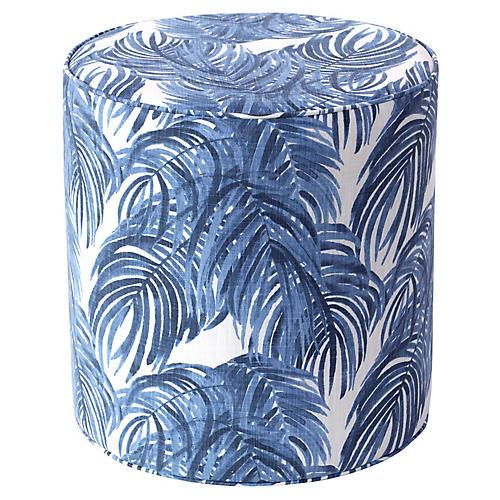Brighton Round Ottoman, Blue Palm