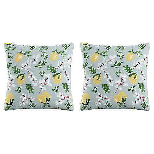 S/2 Lemon Blossom Pillows, Blue