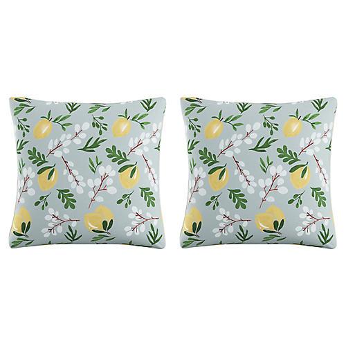 S/2 Lemon Blossom 20x20 Pillows, Blue