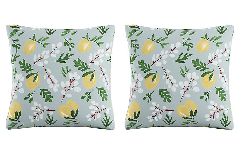S/2 Lemon Blossom Pillows, Blue