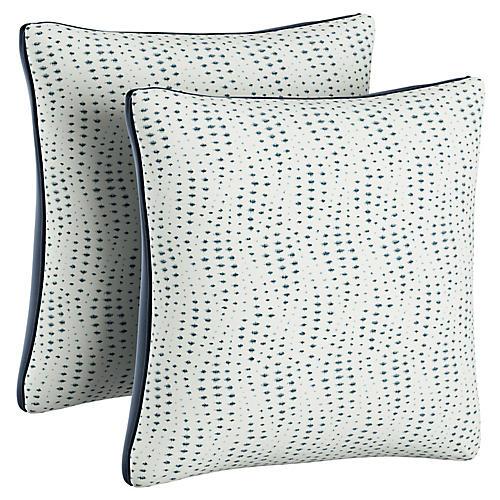 S/2 Dawn Pillows, White/Navy Velvet