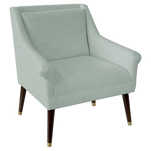 Carson Accent Chair, Mint Linen