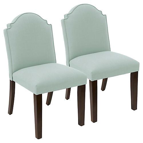 S/2 Elloree Side Chairs, Mint Linen