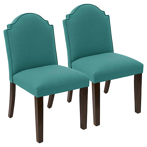 S/2 Elloree Side Chairs, Teal Linen