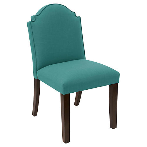 Elloree Side Chair, Teal Linen