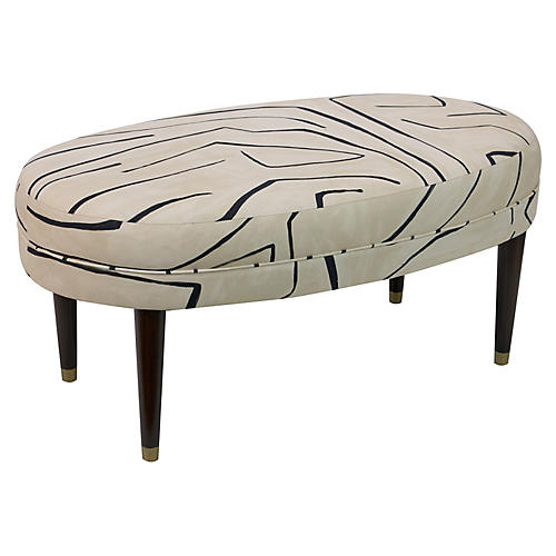 Perris Oval Cocktail Ottoman, Sand/Black