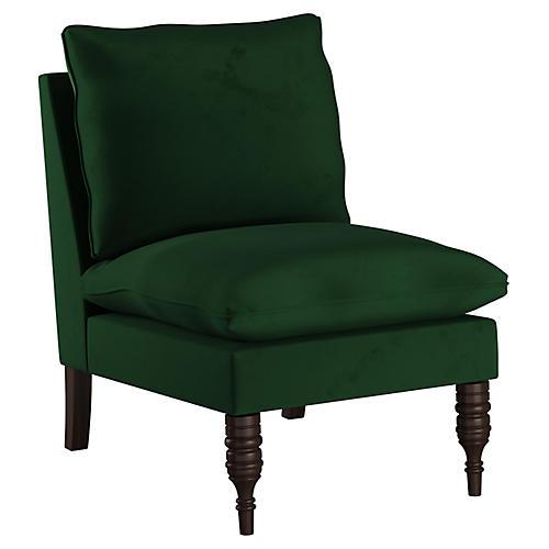 Daphne Slipper Chair, Emerald Velvet