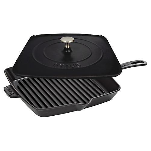 Square Grill Pan & Press Set, Black