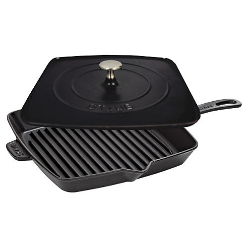 Square Grill Pan & Press Set, Black