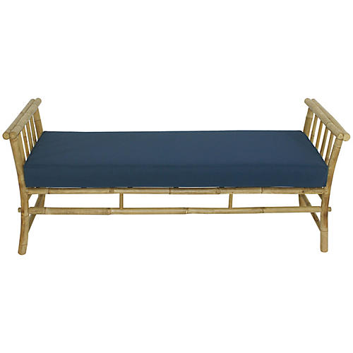 Bamboo Bench, Natural/Navy