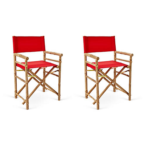S/2 Director's Bamboo Chairs, Red