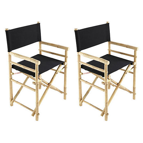 S/2 Director's Outdoor Chairs, Black
