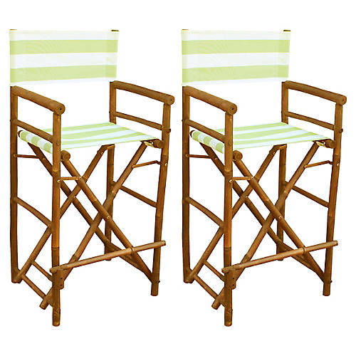 S/2 Director's Chairs, Celadon/White