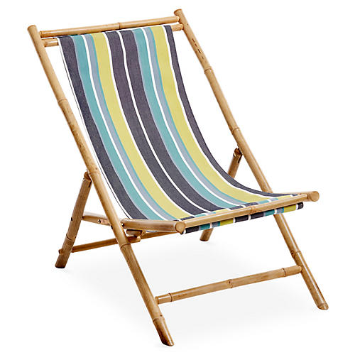 Bamboo Lounge Chair, Blue/Multi