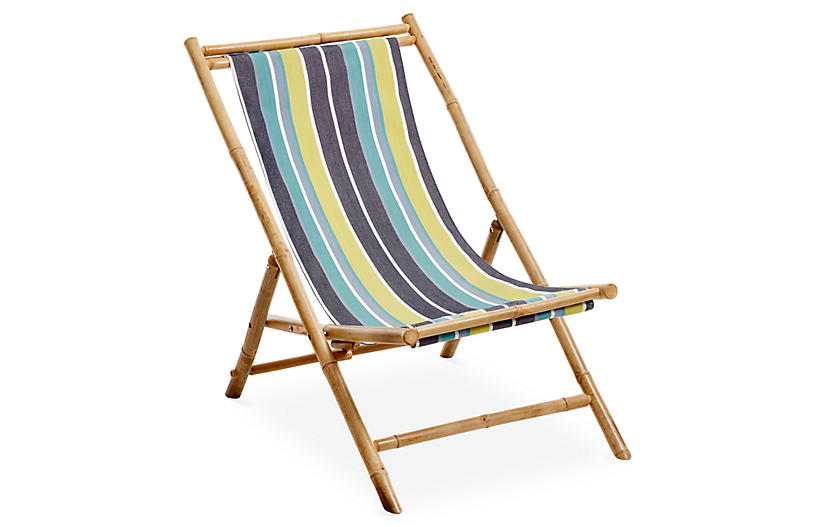 Bamboo Lounge Chair - Blue
