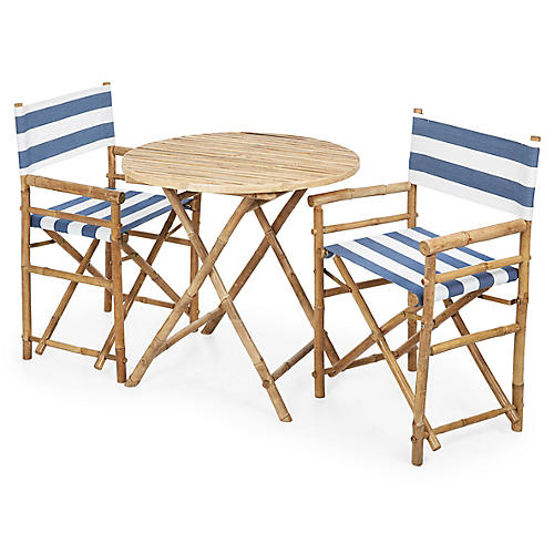 Director's 3-Pc Round Dining Set, Navy/White