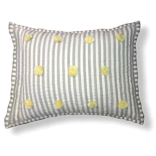 Pom-Pom 12x16 Pillow, Gray/Yellow