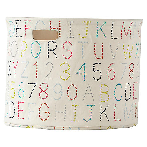 Alphabet Drum Storage, Beige/Multi