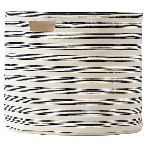 Stripe Drum Storage, Navy/Beige