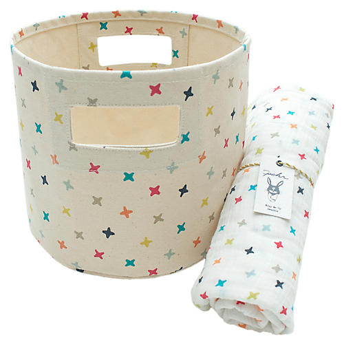 Rainbow Jacks Cotton Baby Gift Set, Beige/Multi