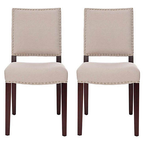 S/2 James Side Chairs, Beige Linen