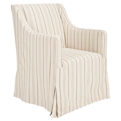 Suzie Slipcover Chair, Cream Linen