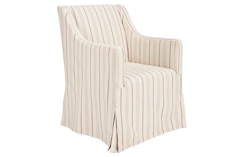 Suzie Slipcover Chair, Cream Linen