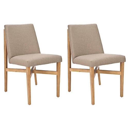 Neutral Duncan Side Chairs, Pair