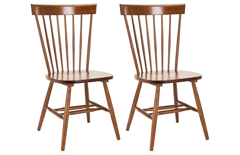 S/2 Abigail Side Chairs, Caramel