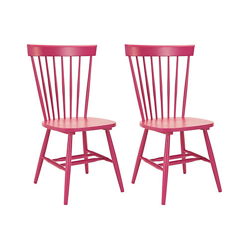 S/2 Abigail Side Chairs, Pink