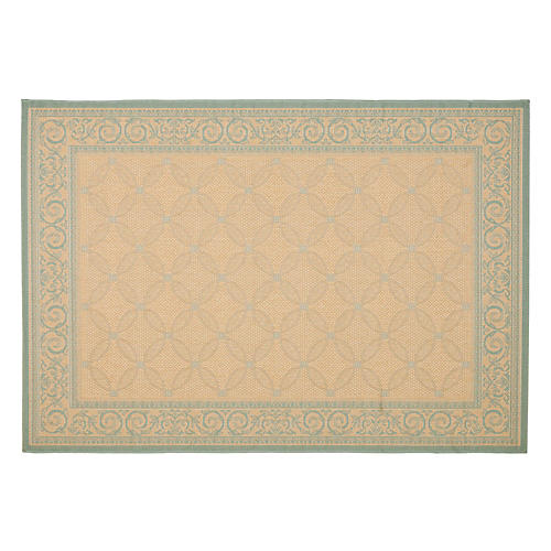 Lucius Outdoor Rug, Cream/Aqua