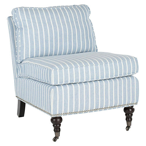 Davis Slipper Chair, Blue/White Linen