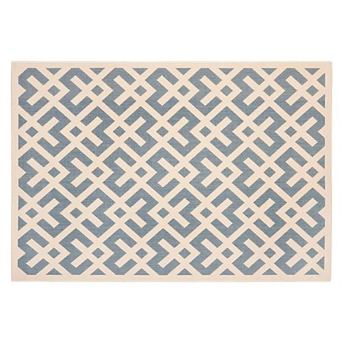 "8'x11'2"" Britt Outdoor Rug, Blue/Bone"