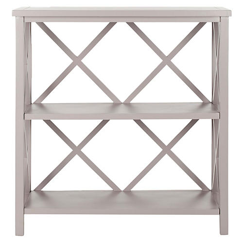 Hadley Open Bookcase, Light Gray