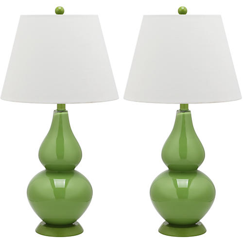 Angela Table Lamp Set, Green
