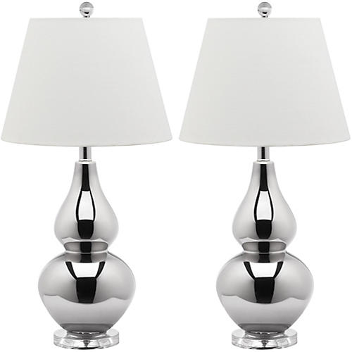 S/2 Angela Table Lamp, Metallic Silver