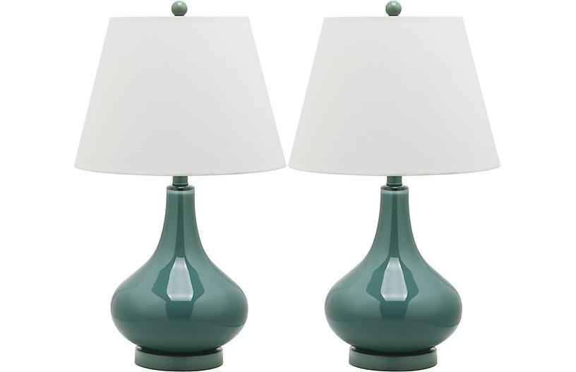 Samuels Table Lamp Set, Marine Blue