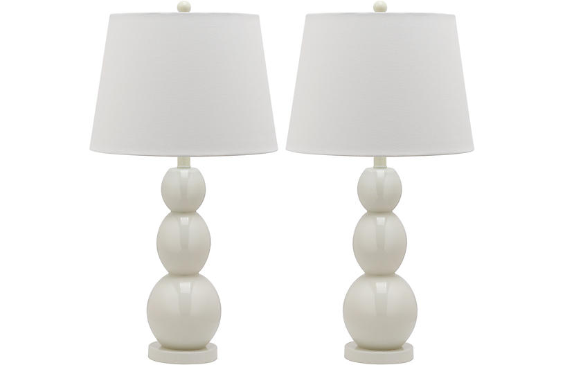 S/2 Bailey Table Lamps, White