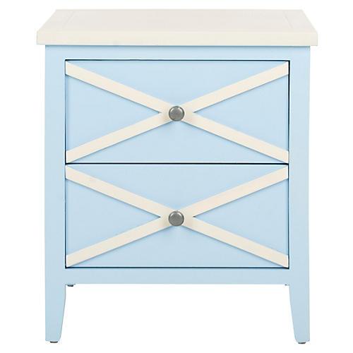 Claudia Nightstand, Light Blue/White