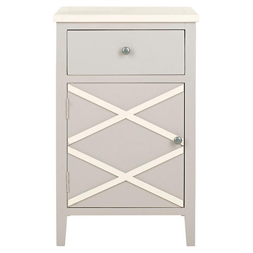 Canaan Nightstand, Light Gray/White