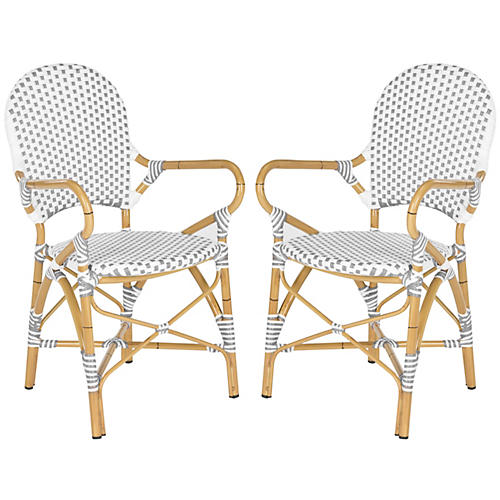 Gray Odeon Bistro Armchairs, Pair