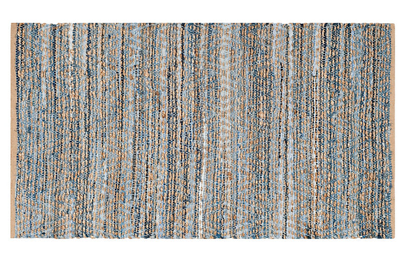 Capshaw Flat-Weave Rug, Natural/Blue