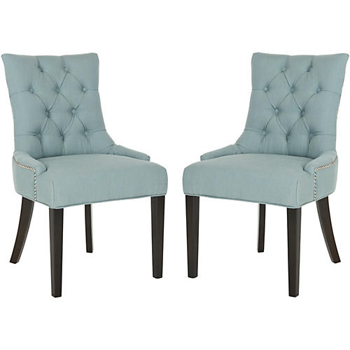 Blue Linen Side Chairs, Pair