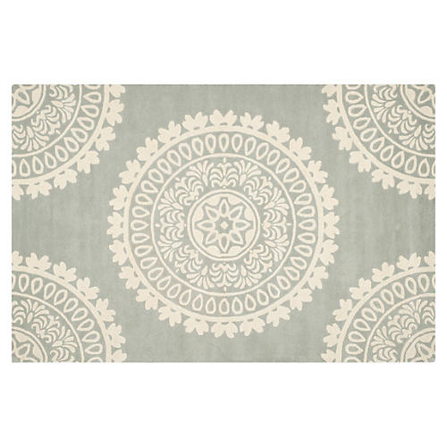 5'x8' Lucci Rug, Gray/Ivory