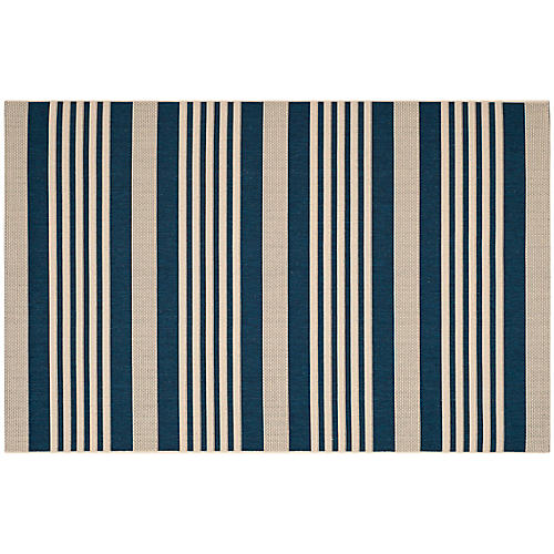 Jeffers Outdoor Rug, Navy/Beige
