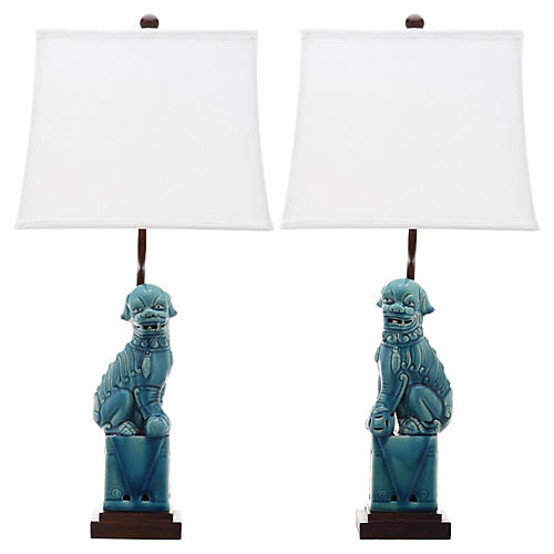 Foo Dog Table Lamp Set, Blue