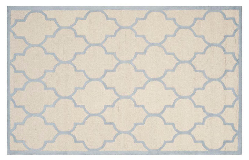Sawyer Rug, Ivory/Light Blue
